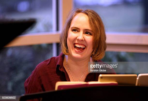 Composer Erin Murray Quinlan works with cast before reading of Jews on First a musical at Temple Shalom in Newton Mass on March 15 2016