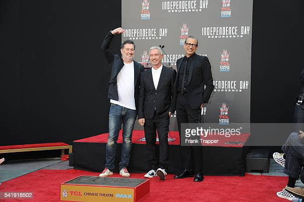 Composer Harald Kloser director Roland Emmerich and actor Jeff Goldblum attend the hand and footprint ceremony for 20th Century Fox's Independence...