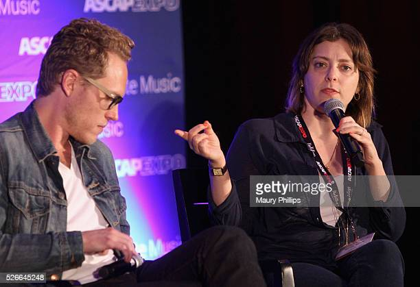 """Composer Jack Dolgen and actress/singer Rachel Bloom speak onstage during the 'Feeling Kinda Naughty' panel, part of the 2016 ASCAP """"I Create Music""""..."""