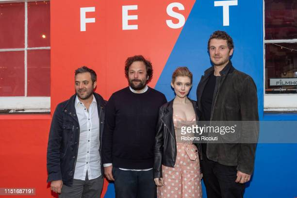 Composer James Edward Barker producer Tom Nash actress Eleanor WorthingtonCox and director William McGregor attend a photocall for the UK Premiere of...