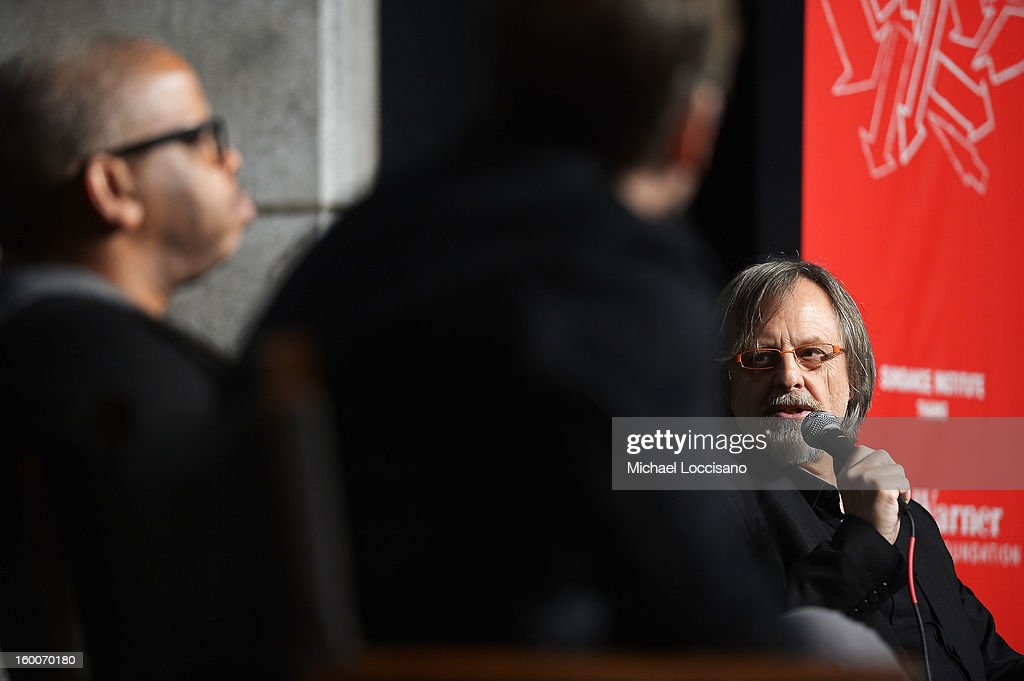 Composer Jan A. P. Kaczmarek (R) speaks onstage at the Power Of Story: Measure For Measure Panel during the 2013 Sundance Film Festival at Egyptian Theatre on January 25, 2013 in Park City, Utah.