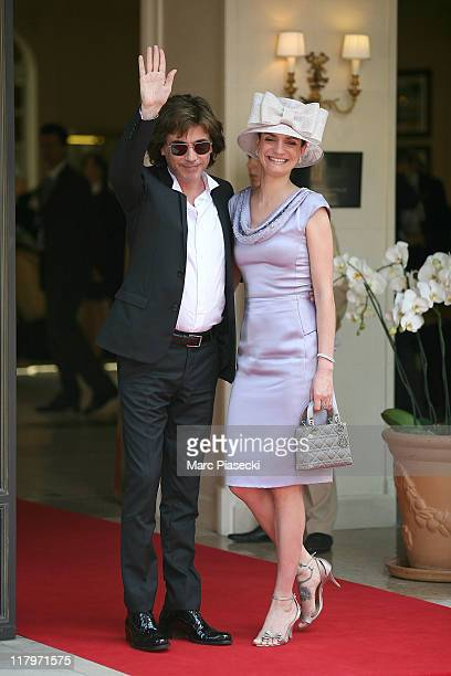 Composer Jean-Michel Jarre and his daughter Emilie are sighted leaving the 'Hermitage' hotel to attend the Royal Wedding of Prince Albert II of...