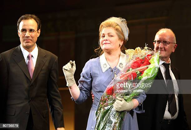 Composer John Bucchino actress Faith Prince and director John Doyle take the curtain call at the opening night of A Catered Affair at the Walter Kerr...