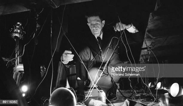 Composer John Cage during his concert held at the opening of the National Arts Foundation Washington DC 1966