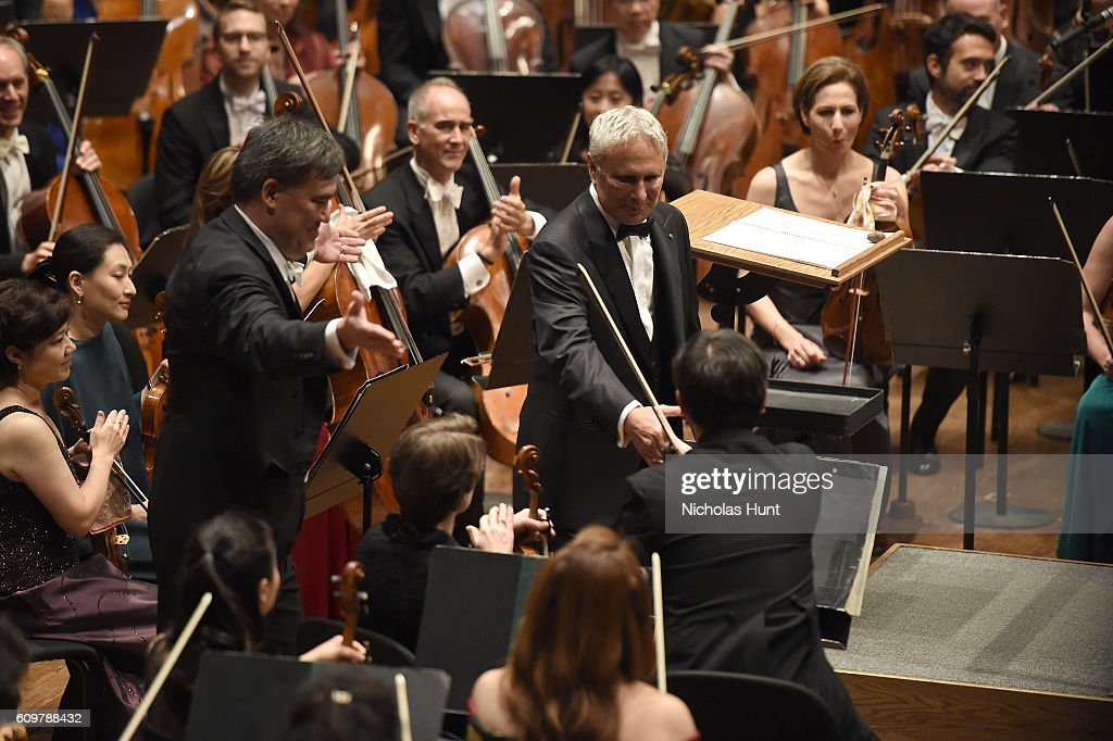 Composer John Corigliano thanks musicians at the New York Philharmonic's Opening Gala Celebrating the 175th Anniversary Season at David Geffen Hall on September 21, 2016 in New York City.