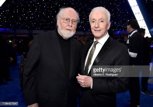"Composer John Williams and Anthony Daniels attends the World Premiere of ""Star Wars: The Rise of Skywalker"", the highly anticipated conclusion of the..."