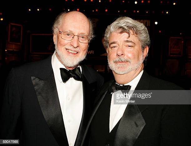 Composer John Williams and director George Lucas pose during the 33rd AFI Life Achievement Award tribute to George Lucas at the Kodak Theatre on June...