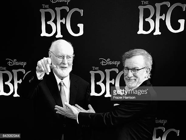 Composer John Williams and director/producer Steven Spielberg attend the Premiere of Disney's The BFG at the El Capitan Theatre on June 21 2016 in...