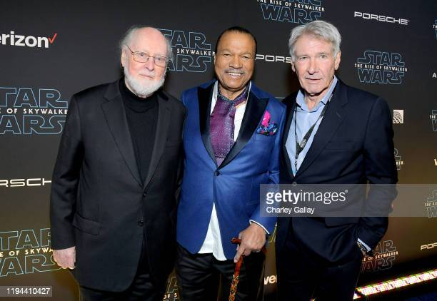 Composer John Williams Billy Dee Williams and Harrison Ford arrive for the World Premiere of Star Wars The Rise of Skywalker the highly anticipated...