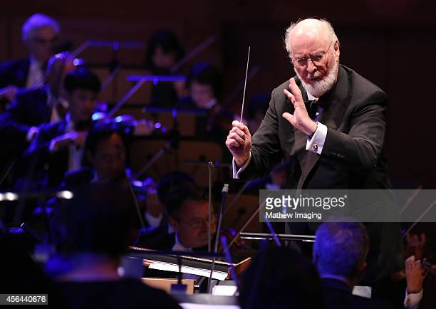 Composer John Williams conducts onstage at Los Angeles Philharmonic's Walt Disney Concert Hall Opening Night Gala on September 30 2014 in Los Angeles...
