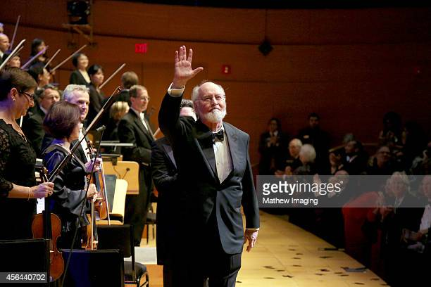 Composer John Williams is seen onstage at Los Angeles Philharmonic's Walt Disney Concert Hall Opening Night Gala on September 30 2014 in Los Angeles...
