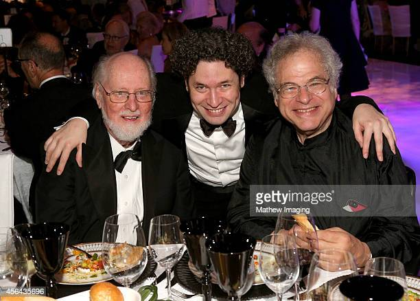 Composer John Williams music director Gustavo Dudamel and violinist Itzhak Perlman attend Los Angeles Philharmonic's Walt Disney Concert Hall Opening...