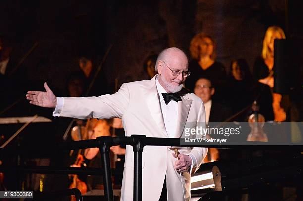 Composer John Williams performs during Universal Studios' 'Wizarding World of Harry Potter Opening' at Universal Studios Hollywood on April 5 2016 in...