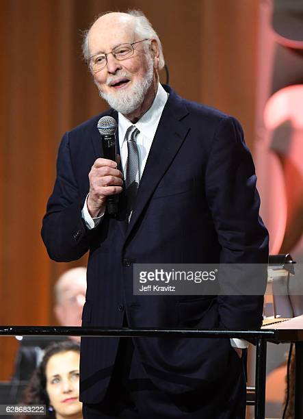 Composer John Williams speaks onstage during Ambassadors for Humanity Gala Benefiting USC Shoah Foundation at The Ray Dolby Ballroom at Hollywood...