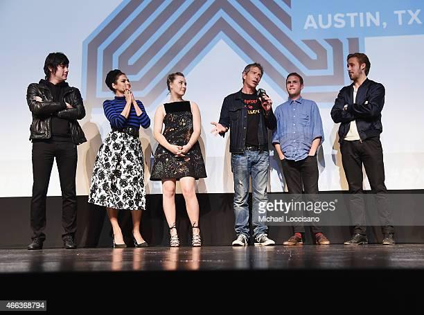Composer Johnny Jewel actors Eva Mendes Saoirse Ronan Ben Mendelsohn and Iain De Caestecker and director/writer Ryan Gosling take part in a QA...