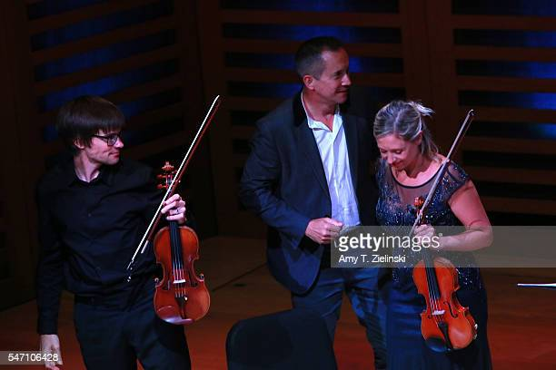 Composer Jonathan Dove receives the audience after his new song-cycle for tenor and string quartet, 'In Damascus', setting words of contemporary...