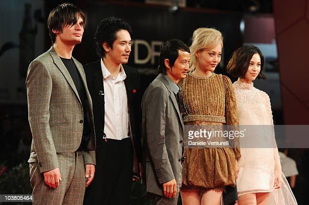 Composer Jonny Greenwood actor Kenichi Matsuyama director Anh Hung Tran actress Rinko Kikuchi and actress Kiko Mizuhara attend the Norwegian Wood...