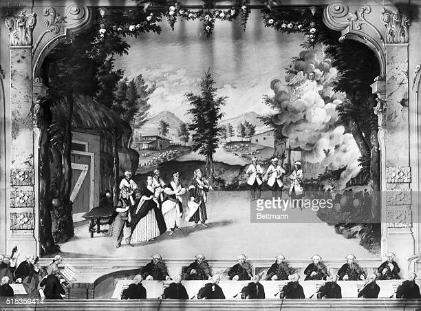 Composer Joseph Haydn conducting opera from Harpsichord at left at Esztermaza 1775