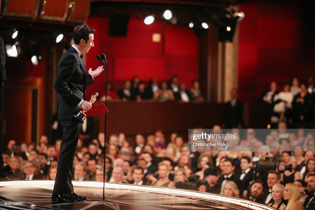 Composer Justin Hurwitz accepts Best Original Score for 'La La Land' onstage backstage during the 89th Annual Academy Awards at Hollywood & Highland Center on February 26, 2017 in Hollywood, California.