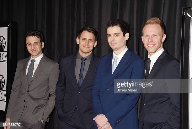 Composer Justin Hurwitz lyricist Benj Pasek director Damien Chazelle and lyricist Justin Paul attend the 42nd annual Los Angeles Film Critics...