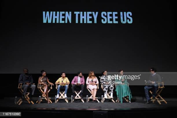 Composer Kris Bowers actors Marsha Stephanie Blake Asante Blackk Jharell Jerome Niecy Nash Aunjanue Ellis filmmaker Ava DuVernay and JJ Abrams seen...