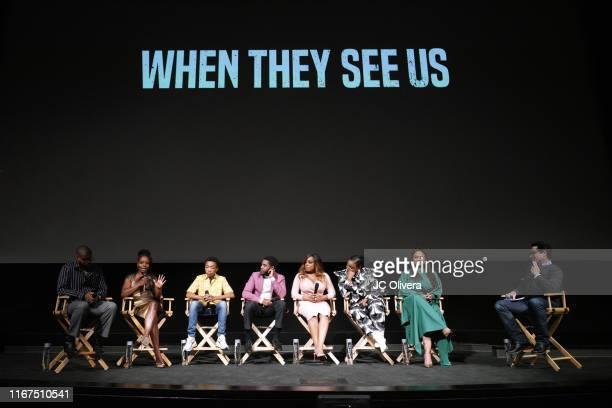 Composer Kris Bowers actors Marsha Stephanie Blake Asante Blackk Jharell Jerome Niecy Nash Aunjanue Ellis filmmaker Ava DuVernay and JJ Abrams seen...