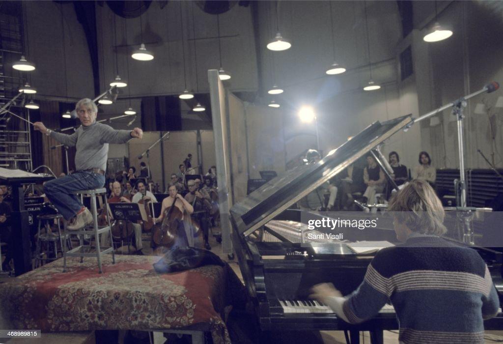Composer Leonard Bernstein in a recording studio on November 5, 1974 in New York, New York.