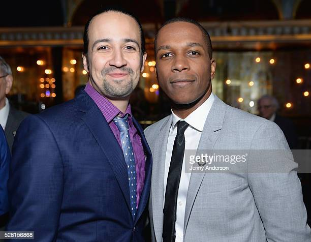 Composer LinManuel Miranda and Actor Leslie Odom Jrattend the 2016 Tony Awards Meet The Nominees Press Reception on May 4 2016 in New York City