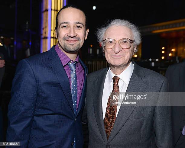 Composer LinManuel Miranda and Lyricist Sheldon Harnick attend the 2016 Tony Awards Meet The Nominees Press Reception on May 4 2016 in New York City