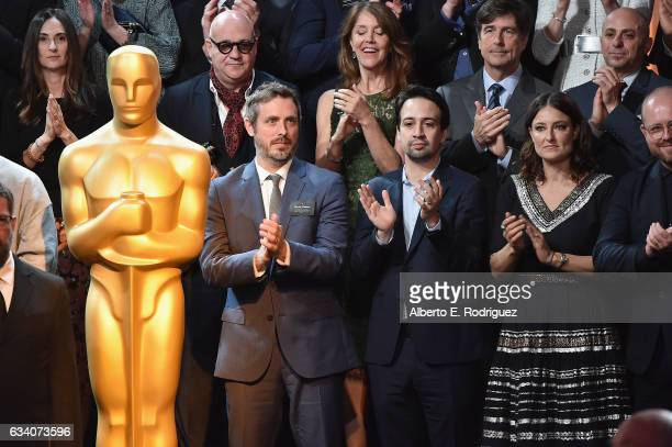 Composer LinManuel Miranda and other nominees pose for the class photo during the 89th Annual Academy Awards Nominee Luncheon at The Beverly Hilton...