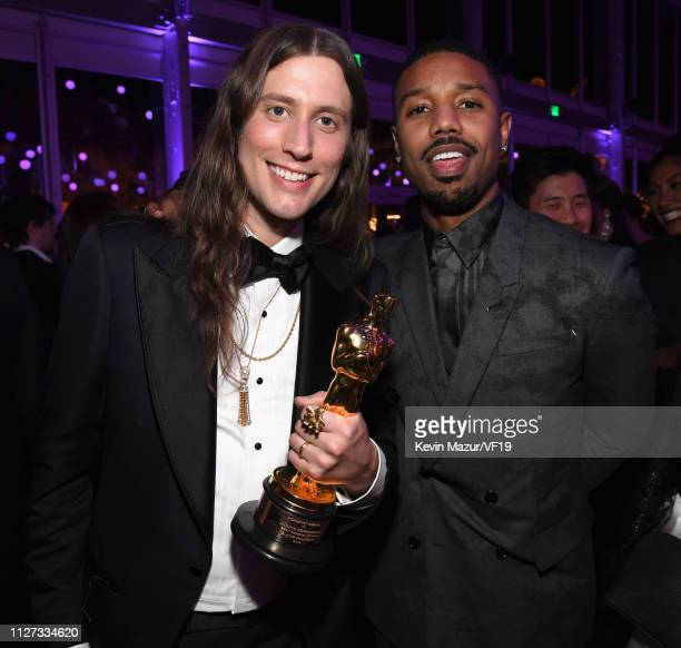 Composer Ludwig Goransson winner Best Original Score for 'Black Panther' and Michael B Jordan attend the 2019 Vanity Fair Oscar Party hosted by...