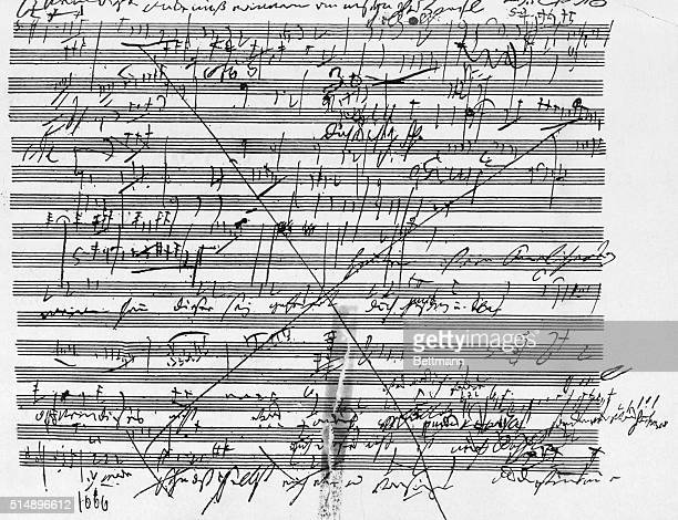 Composer Ludwig Van Beethoven's music score for the last movement of the ninth symphony