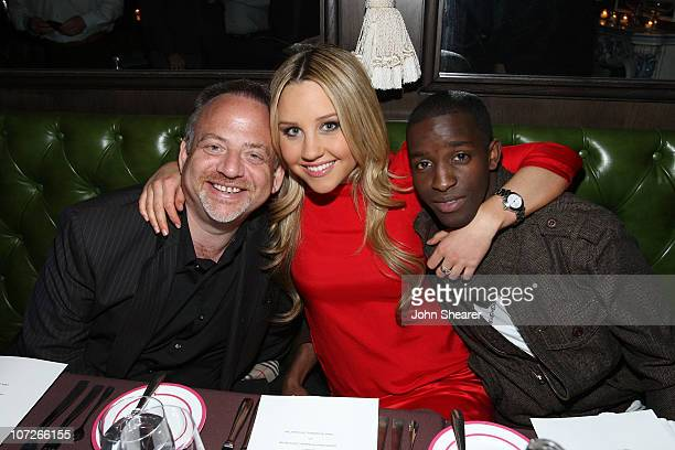 Composer Marc Shaiman actress Amanda Bynes and actor Elijah Kelley attend the Hairspray dinner at the Parker Hotel on January 4 2008 in Palm Springs...