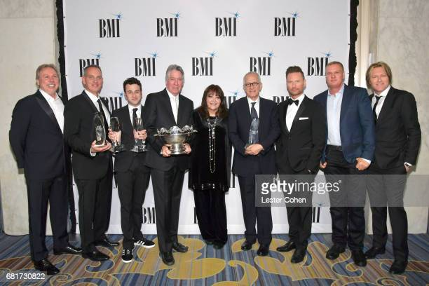 Composer Mark Mancina BMI President and CEO Michael O'Neill composer Justin Hurwitz 2017 BMI Icon Award recipient Alan Silvestri BMI VP Film TV...