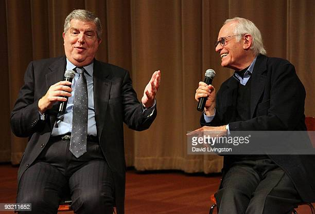 Composer Marvin Hamlisch and lyricist Alan Bergman attend a Society of Composers Lyricists/ASCAP QA prior to a screening of The Informant at the...