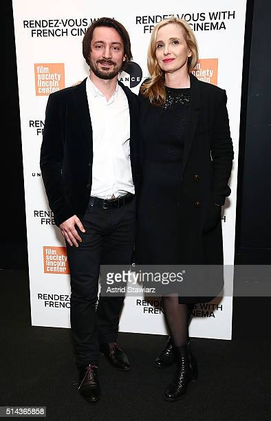 """Composer Mathieu Lamboley and actress Julie Delpy attend 2016 Rendez-Vous With French Cinema - """"Lolo"""" at Furman Gallery on March 8, 2016 in New York..."""