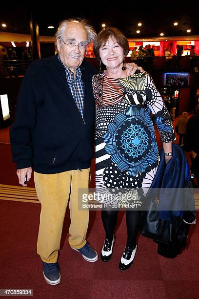 Composer Michel Legrand and actress Macha Meril attend French Humorists Regis Laspales and Philippe Chevallier perform in their show 'Vous reprendrez...