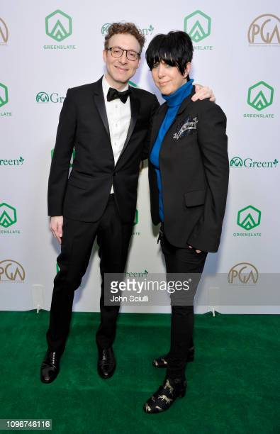 Composer Nicholas Britell and Diane Warren attend the 30th Annual Producers Guild Awards proudly supported by GreenSlate at The Beverly Hilton Hotel...