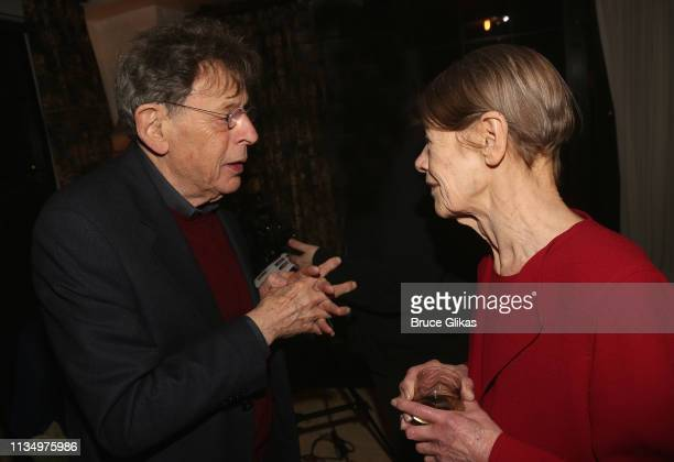 Composer Philip Glass and Glenda Jackson chat at the opening night after party for the new production of King Lear on Broadway at The Bowery Hotel on...