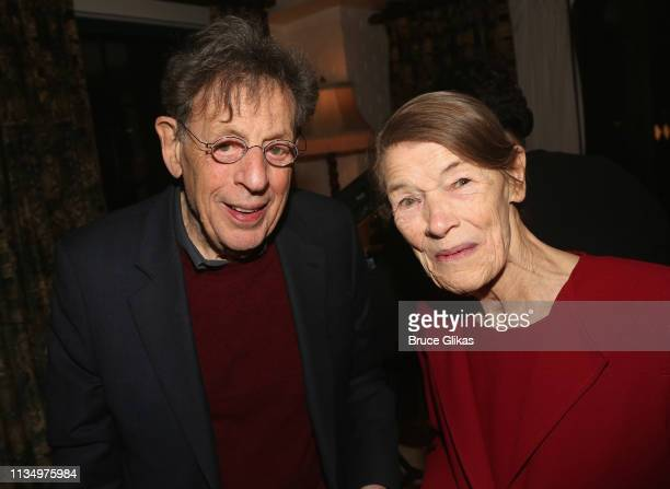 Composer Philip Glass and Glenda Jackson pose at the opening night after party for the new production of King Lear on Broadway at The Bowery Hotel on...