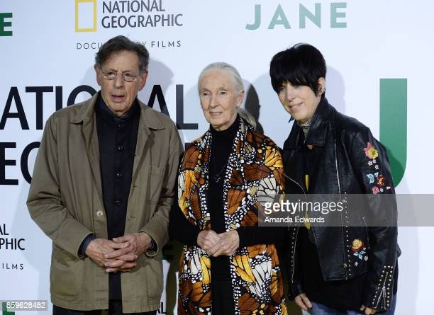 Composer Philip Glass primatologist Dr Jane Goodall and songwriter Diane Warren arrive at the premiere of National Geographic Documentary Films'...