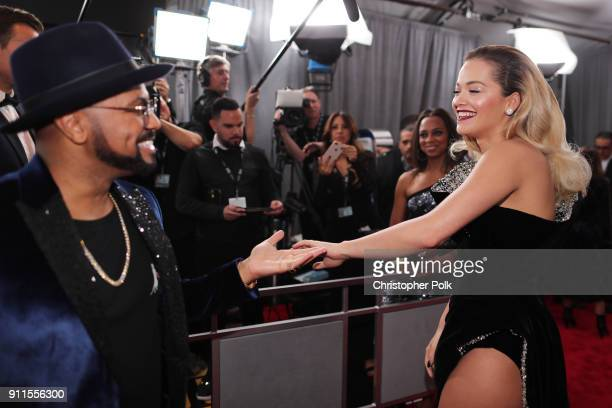 Composer Philip Lawrence and recording artist Rita Ora attend the 60th Annual GRAMMY Awards at Madison Square Garden on January 28 2018 in New York...