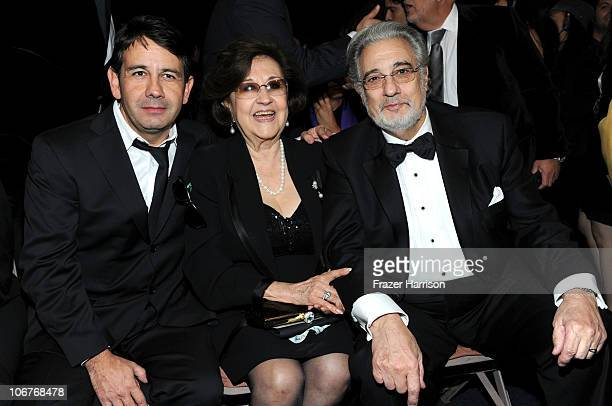 Composer Placido Domingo Jr Marta Domingo and singer Placido Domingo backstage during the 11th annual Latin GRAMMY Awards at the Mandalay Bay Events...