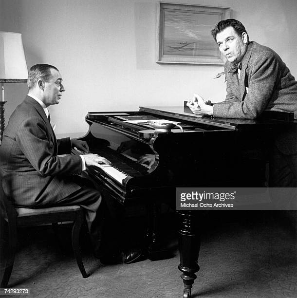 Composer Richard Rodgers Oscar Hammerstein collaborate at the piano in 1943 in New York New York