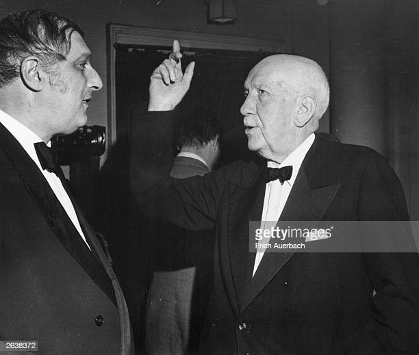 Composer Richard Strauss , right, with conductor Clemens Krauss .