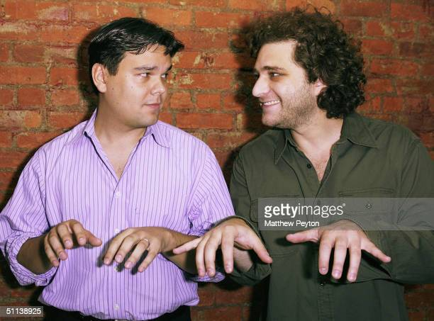 Composer Robert Lopez and lyricist Jeff Marx attend the In With The New Benefit For The Kerry / Edwards Campaign at Canal Room August 2 2004 in New...