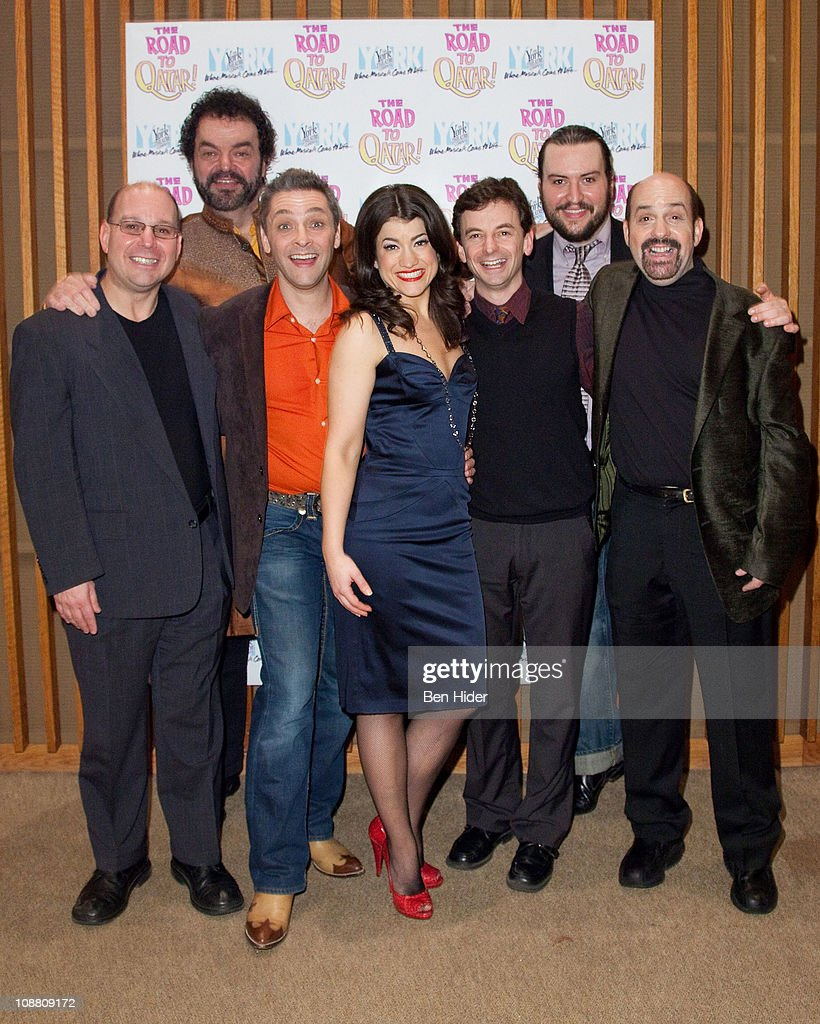 Composer Stephen Cole, Actors Bill Nolte, James Beaman, Sarah Stiles, Keith Gerchak, Bruce Warren and composer David Krane attend the Off-Broadway opening night of 'The Road to Qatar' at The York Theatre at Saint Peter's on February 3, 2011 in New York City.