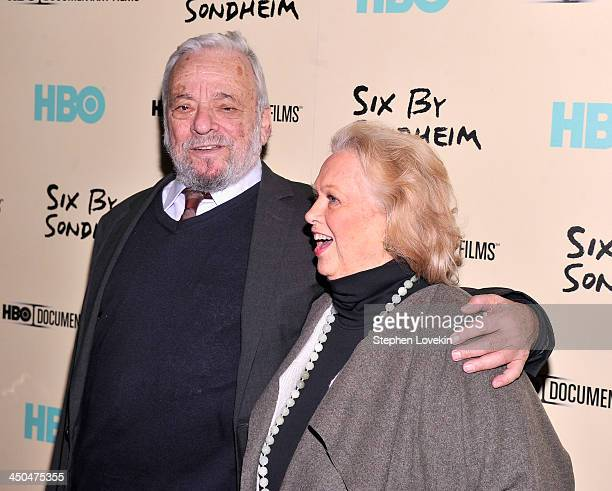 Composer Stephen Sondheim and Actress Barbara Cook attend HBO's New York Premiere of Six by Sondheim at Museum of Modern Art on November 18 2013 in...