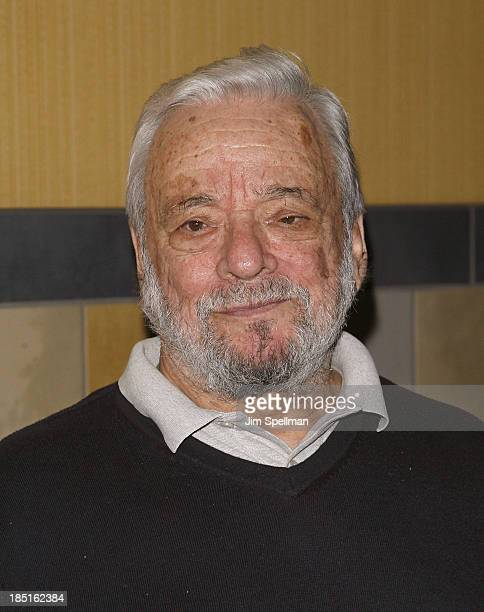 Composer Stephen Sondheim attends the 'Merrily We Roll Along' New York Premiere at Regal Union Square Theatre Stadium 14 on October 17 2013 in New...