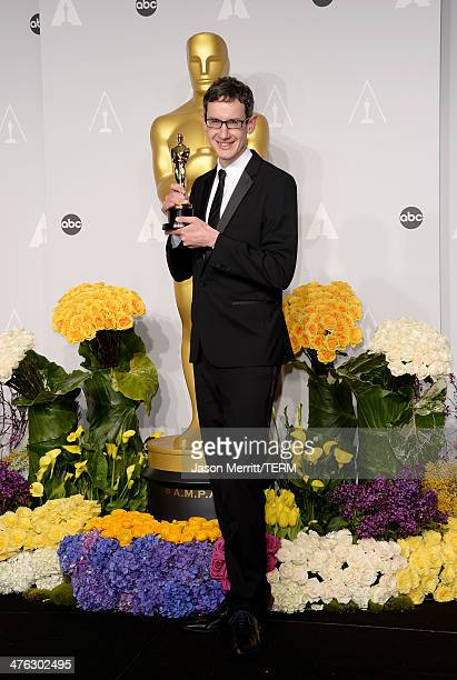 Composer Steven Price winner of Best Achievement in Music Written for Motion Pictures Original Score poses in the press room during the Oscars at...